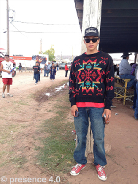 Presence 4.0 met up with Wacey, pictured here at the Navajo Nation Fair. He shared credit for his outfit was owed to his Grandma's closet where he found this colorful sweater.