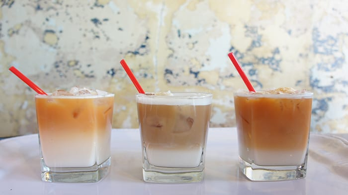 From left to right: Caramel Cape Town, Black Rose and London Fog macchiatos. (Photo by Tea & Toast Co.)
