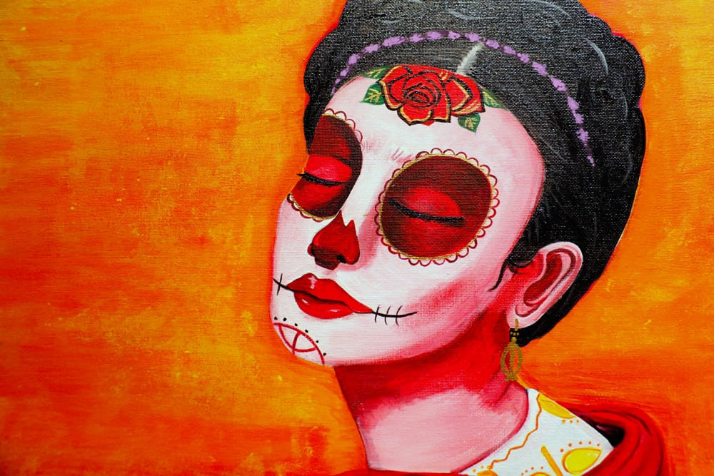 """The acrylic painting titled """"Frida Dia De Los Muertos"""" by Lucinda Hinojos exemplifies the style of art displayed during Dia de los Muertos en ALAC Friday, Nov. 6, 2015.(Photo: Fara Illich)"""