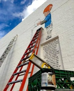 Work is now underway on the new mural, which is expected to be finished in February. (Photo: Jon Linton)