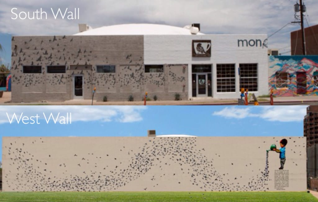 The working designs of the mural show a continuation of the flock of birds on the south wall onto the west wall. (Renderings: I Have a Name Project)