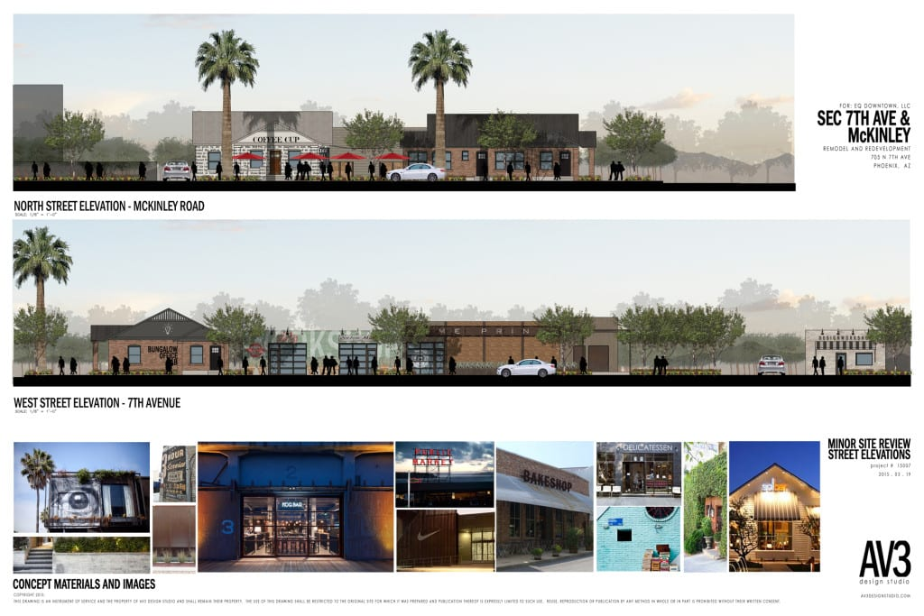 Local property owner Chuckie Duff worked with AV3 Design Studio to draft concepts for his buildings. These designs are simply conceptual, and besides ACME Prints, none of the buildings are yet tenanted. (Courtesy of AV3 Design Studio)