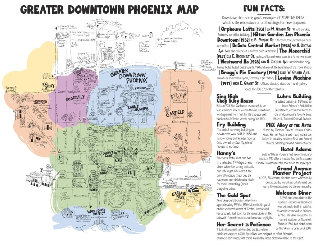 An artistic representation of Downtown Phoenix neighborhoods as well as fun facts about several buildings, restaurants and neighborhoods. Click on the photo for a downloadable copy. (Illustration: Jen Urso)