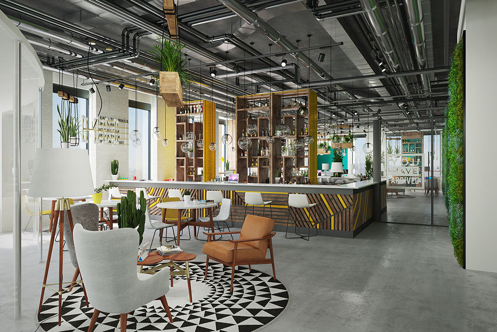 A rendering of the top floor coworking space, called The Society. (Rendering by Studio Misfits, courtesy Union Market)