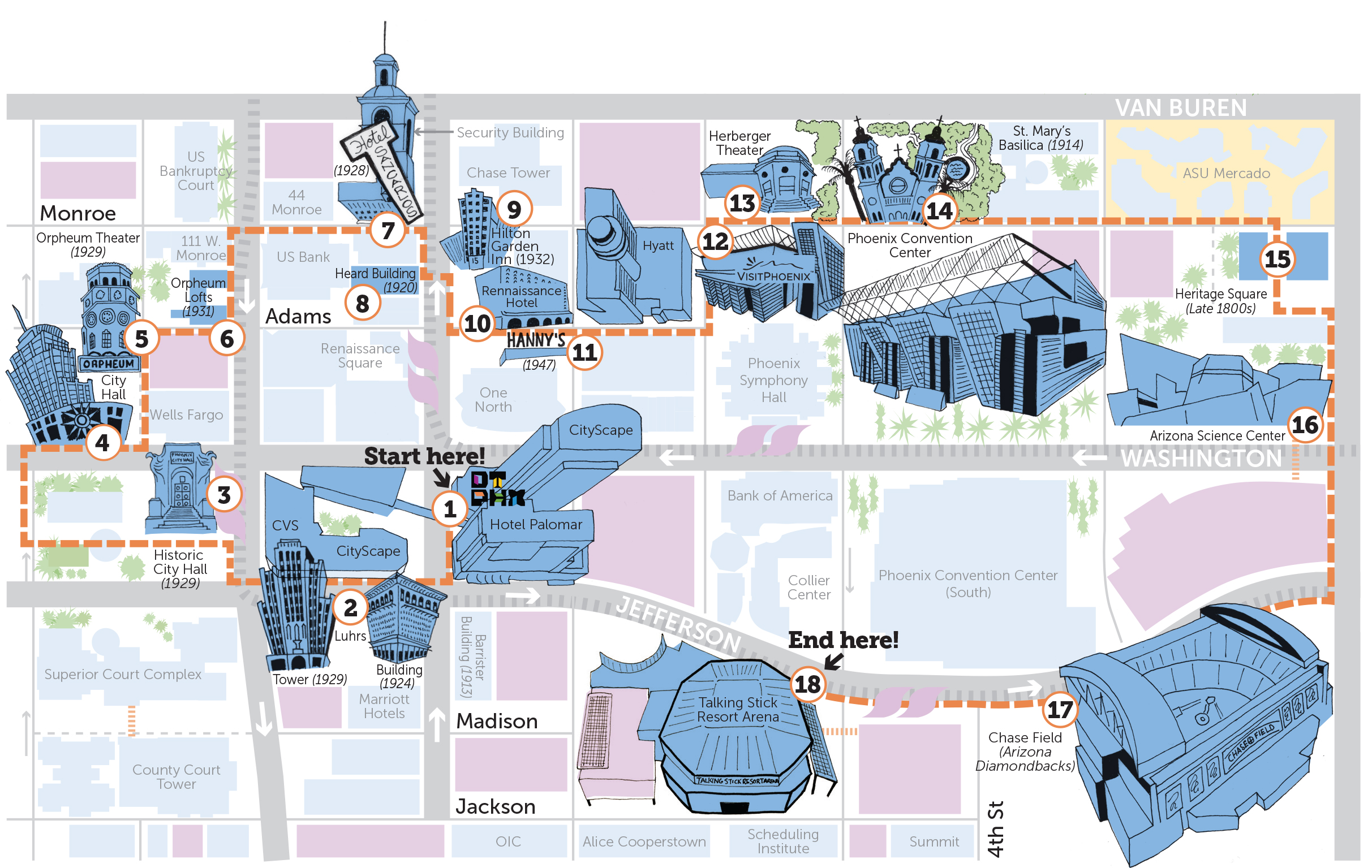 Downtown Phoenix Map on