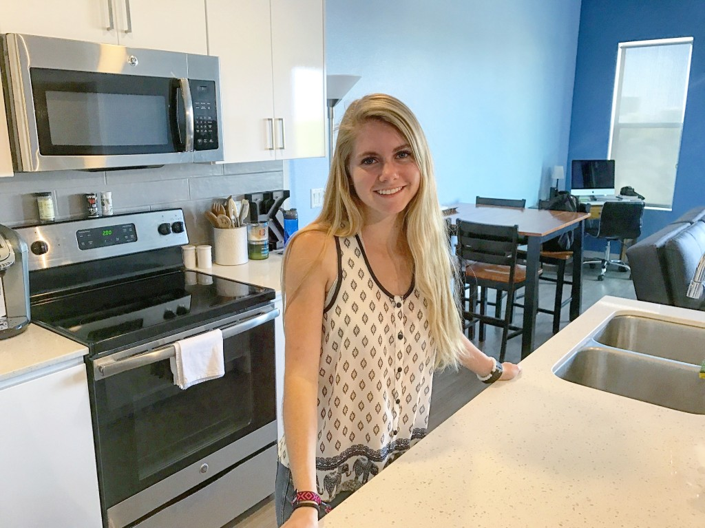 Kayla Koch, 21, lives in a one-bedroom condo at en Hance Park. (Photo: Lauren Potter)