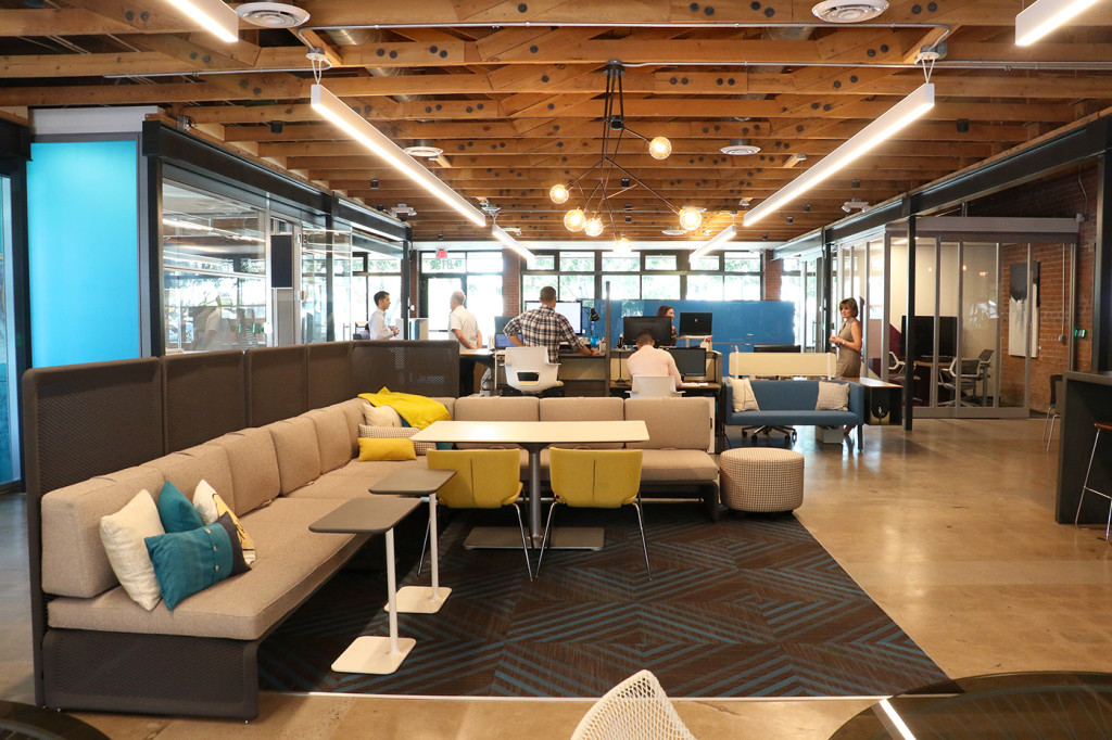 Atmosphere Commercial Interiors is almost a year into its current office in Downtown Phoenix, having relocated from Tempe in late 2016. Most employees don't have an assigned work station and get to choose a new workplace each day. (Photo: Brandi Porter)