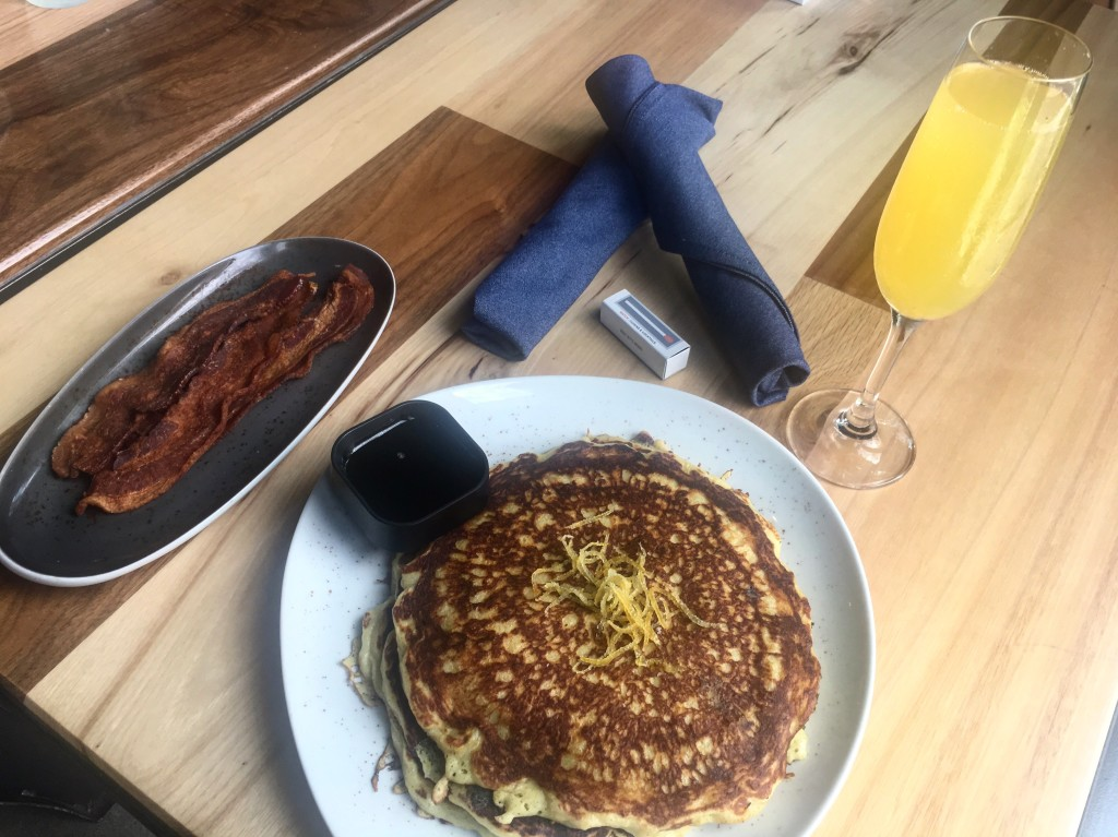 Match's lemon ricotta pancakes paired perfectly with the summer special, $4 mimosas. (Photo: Leah Goldberg)