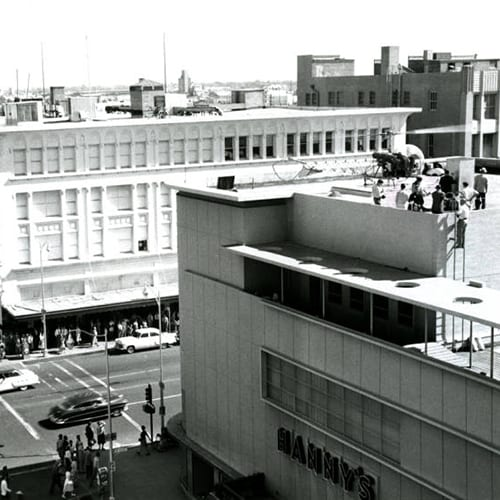 Hanny's Clothing Store, constructed by Del Webb, was inspired by the 1939 Museum of Modern Art in New York City.