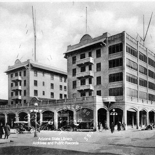 The Adams Hotel burned down and was immediately rebuilt using fire-resistant materials.