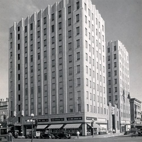 The elegant Title and Trust Building was built on the northwest corner of Adams Street and First Avenue.