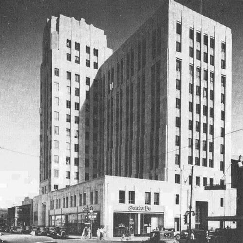 The Professional Building, a 12-story Art Deco tower, was built with a steel frame and sheathed with Indiana limestone.