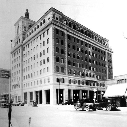 The nine-story Security Building was built on the southwest corner of Central Avenue and Van Buren Street.