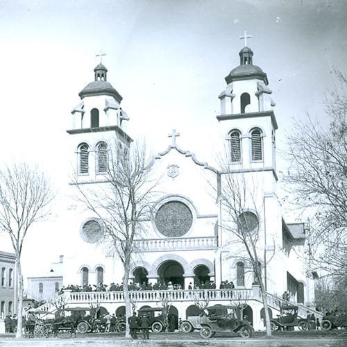 St. Mary's Church, built in the Spanish Revival style, was known for its exquisite stained glass windows from The Munich School of Stained Glass.