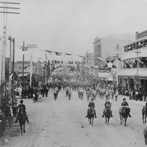 Phoenix Rough Riders (volunteer cavalry) paraded down Central Avenue on their way to fight in the Spanish American War.