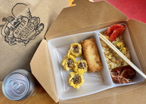 The bento box is a perfect for lunch with a cheesy egg roll, pork siu mai and fried rice. Canned cocktail optional ;)